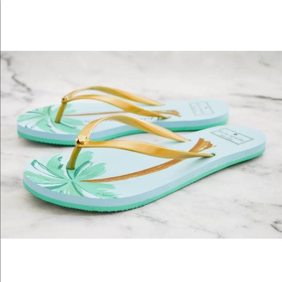1a6a9f5b1bc Kate Spade NY Nassau Flip Flops Sandals Palm Trees
